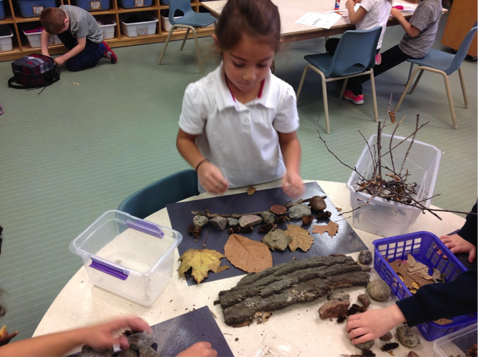 Kindergarten students making art