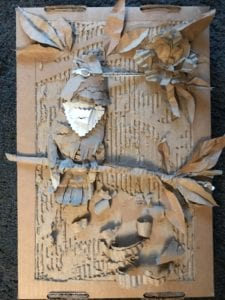 cardboard 3d image of bird, to show how humble materials can be used.