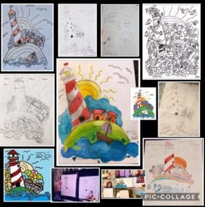 Drawings of lighthouses from a student art class