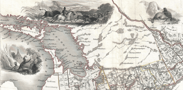 1850 Tallis Map of West Canada or Ontario (includes Great Lakes)