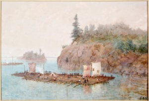 The Timber Raft, by Frances Anne Hopkins, 1868. LIBRARY AND ARCHIVES CANADA