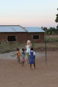 Playing net ball with some of the local children